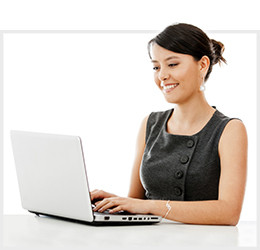 smiling woman on laptop